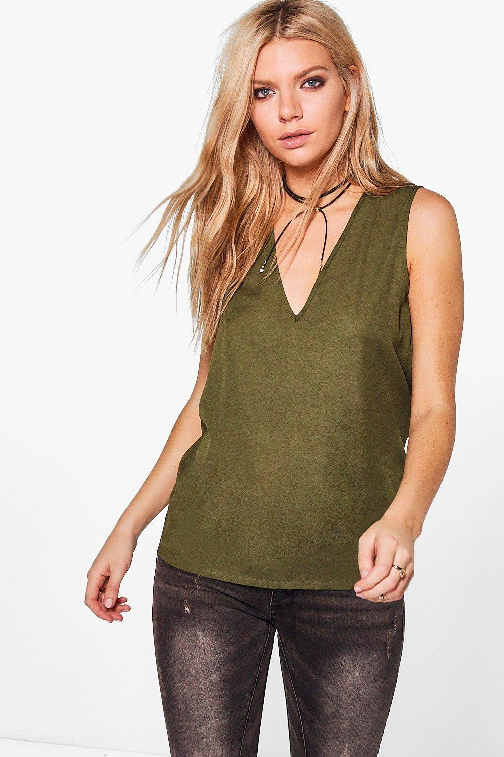 Deep V Neck Sleeveless Tank  khaki