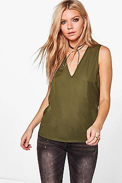Anna Deep V Neck Sleeveless Tank