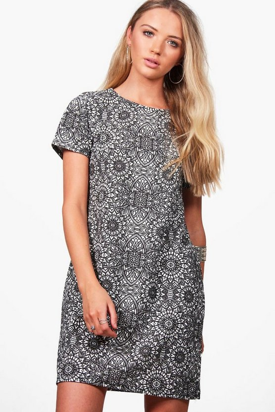 Ebony Printed Shift Dress
