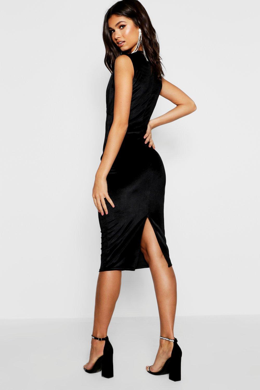 Boohoo Womens Leanne Pleated Velvet Midi Dress