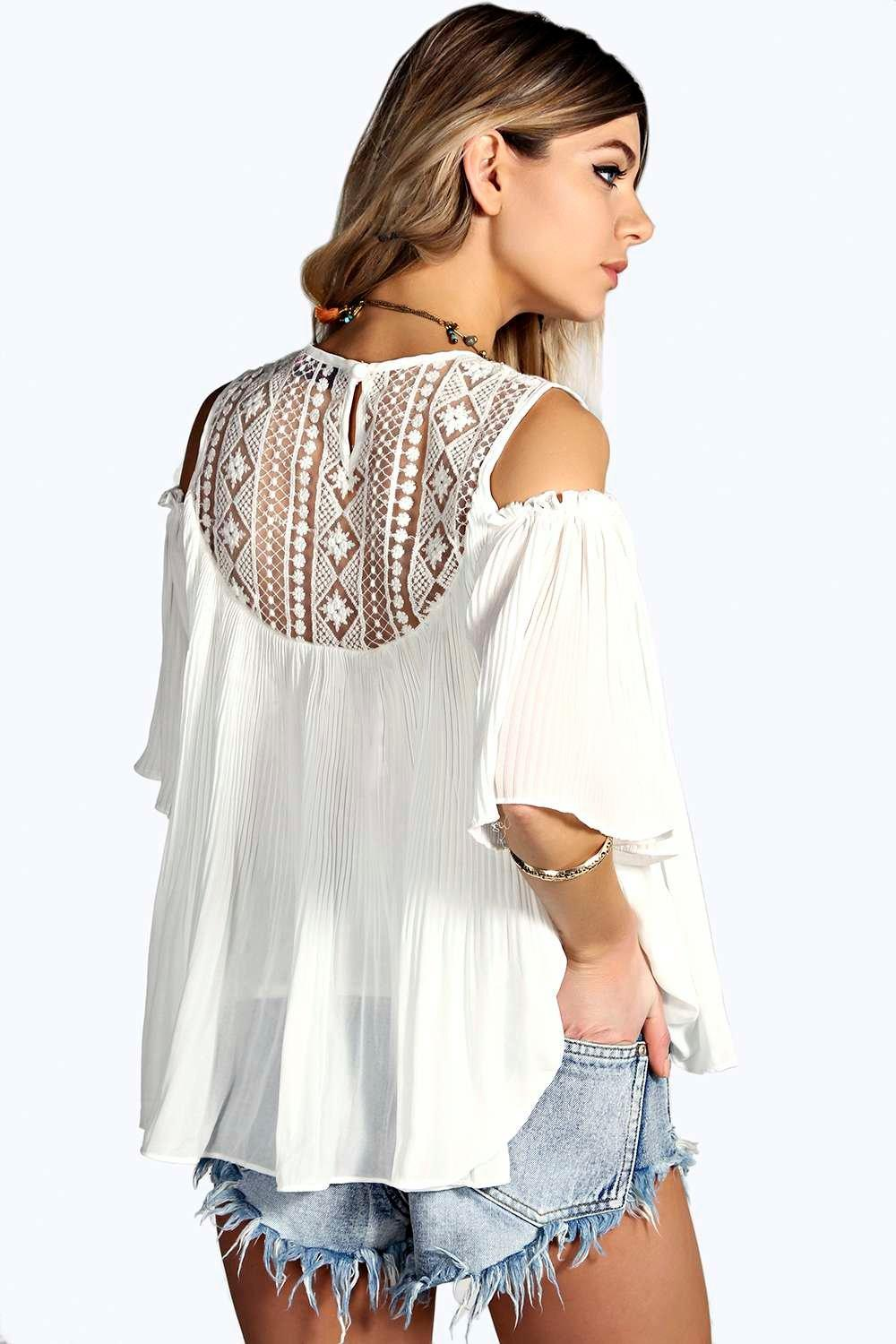 Boohoo Womens Elsa Lace Insert Cold Shoulder Pleated Smock Top
