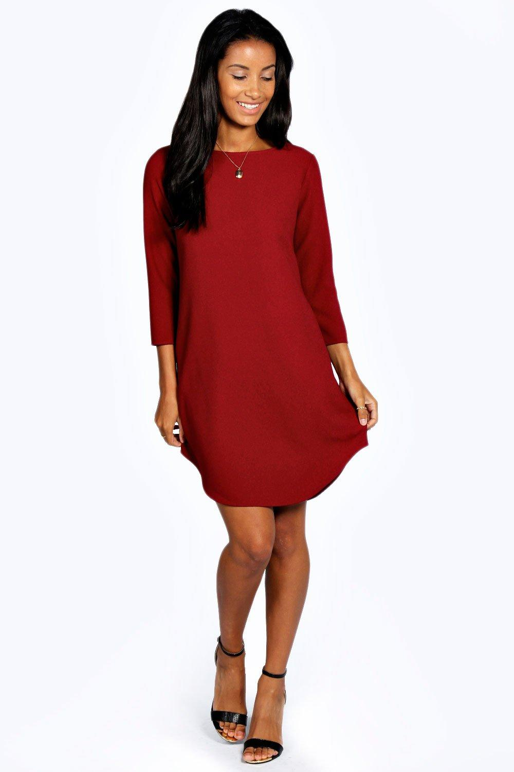 Holly Curved Hem Woven Shift Dress