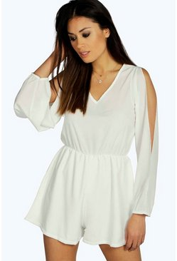 Jessica Split Sleeve Crepe Playsuit