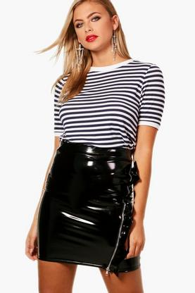 Eva Fine Stripe Rib Cuff & Neck Top