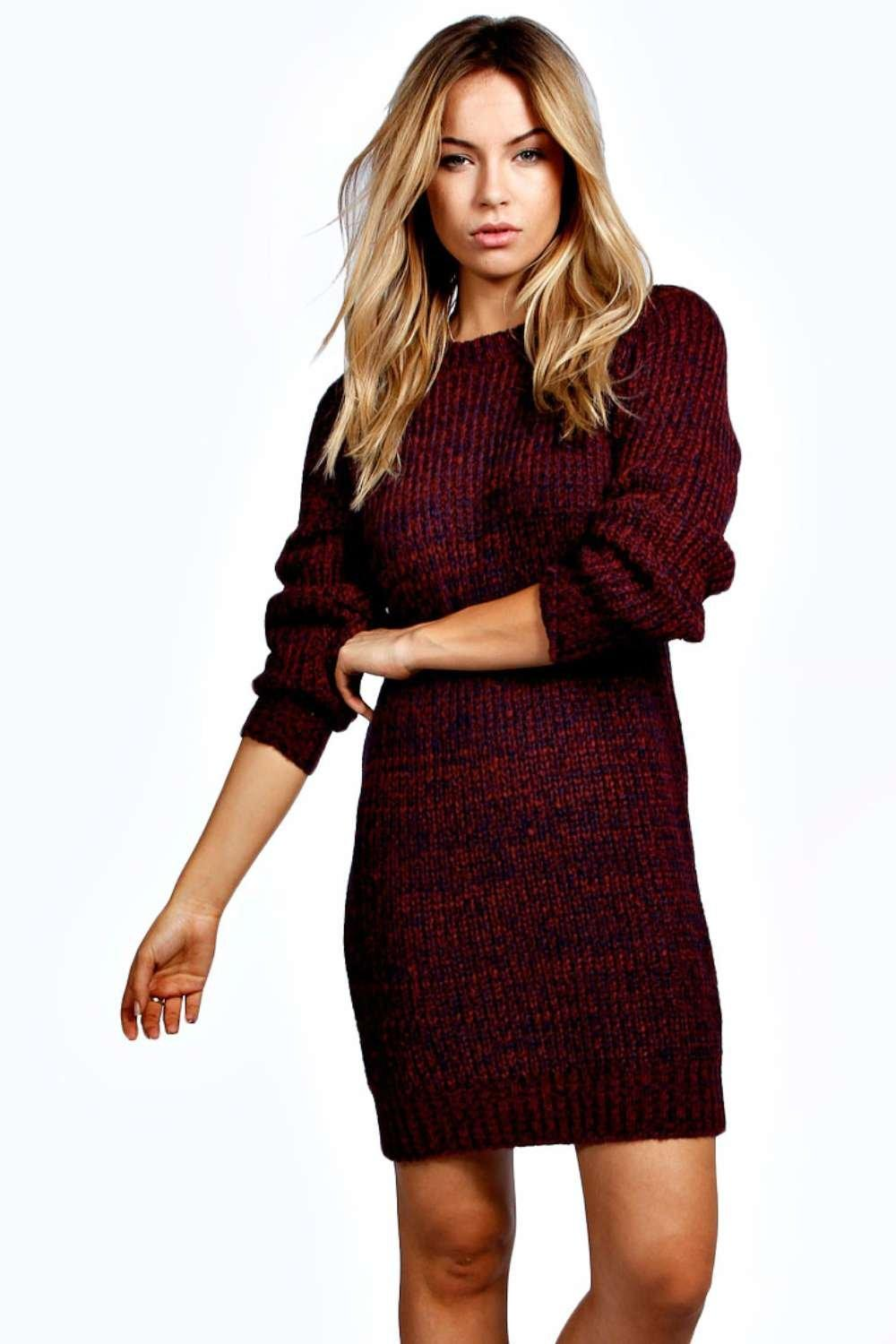 New  About Boohoo Womens Ladies Rita Slash Neck Waffle Knit Jumper Dress