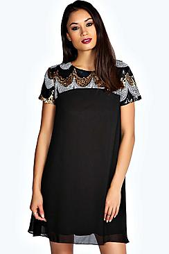 Lila Sequin Panel Chiffon Swing Dress