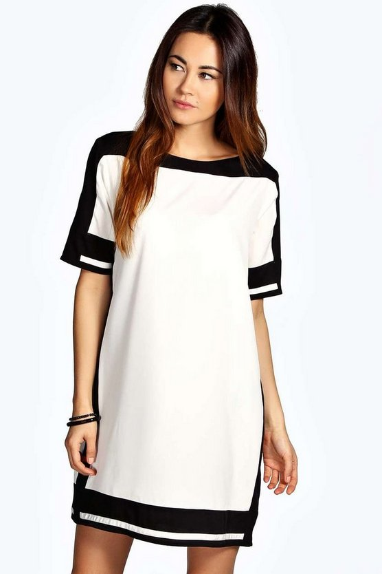 Bianca Contrast Colour Woven Shift Dress