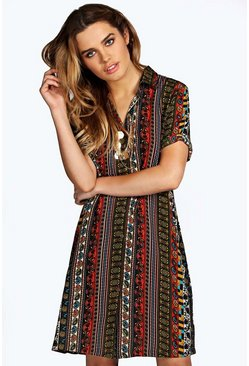 Zena Paisley Panel Shirt Dress