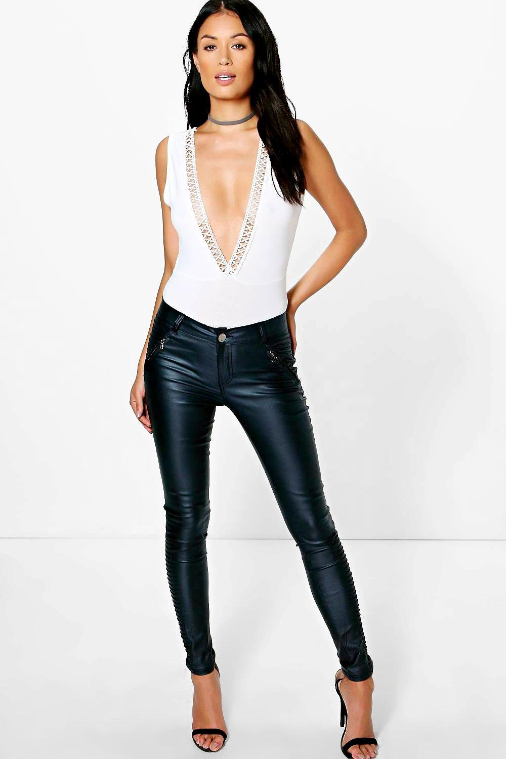 Alyson Panelled Coated PU Trousers