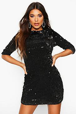 Louise Sequin Long Sleeve Bodycon Dress