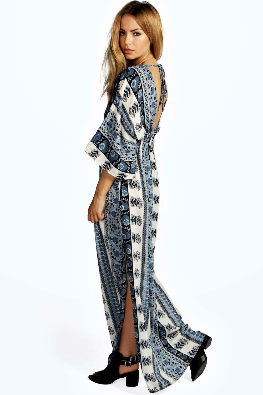 Mia Scarf Print Kimono Sleeve Maxi Dress | Boohoo