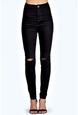 Lara Skinny High Rise Tube Slashed Jeans