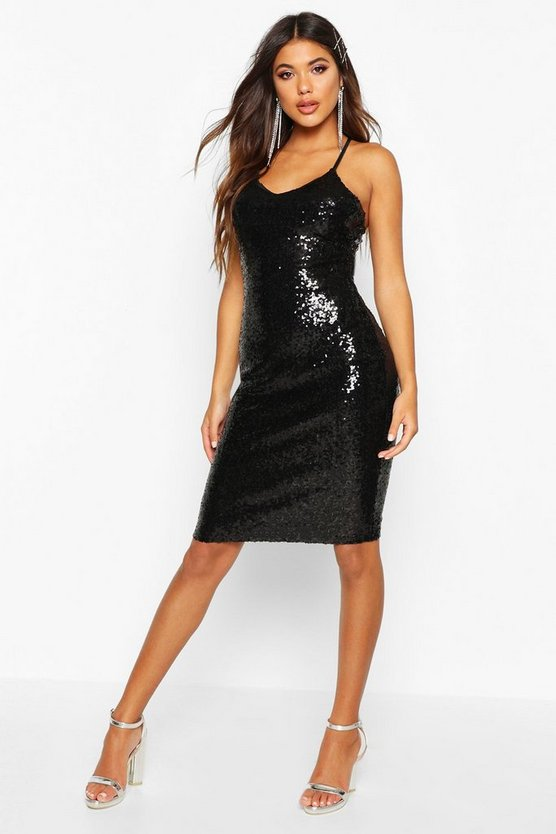 Kylie Sexy Sequin Strappy Midi Dress