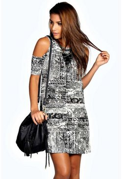Adriana Printed Cold Shoulder Shift Dress