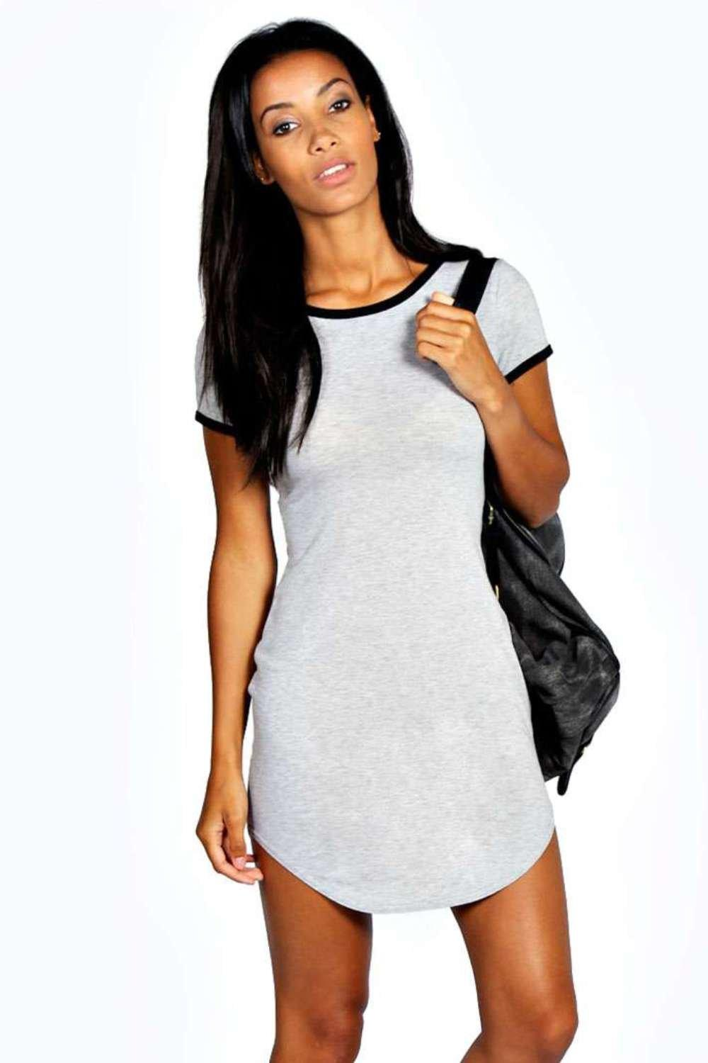 Sophia Contrast Rib Cap Sleeve Bodycon Dress