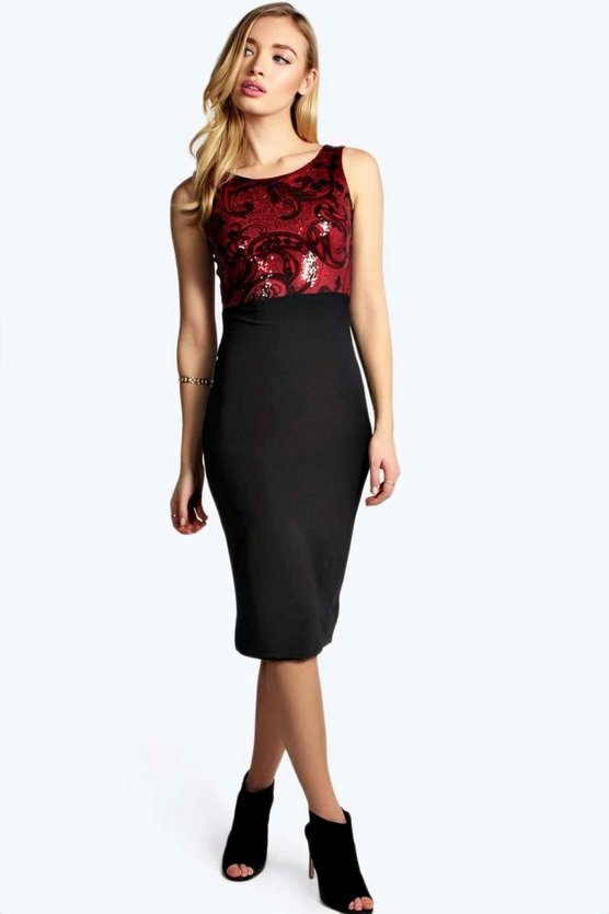 Lucy Sequin Top Bodycon Midi Dress