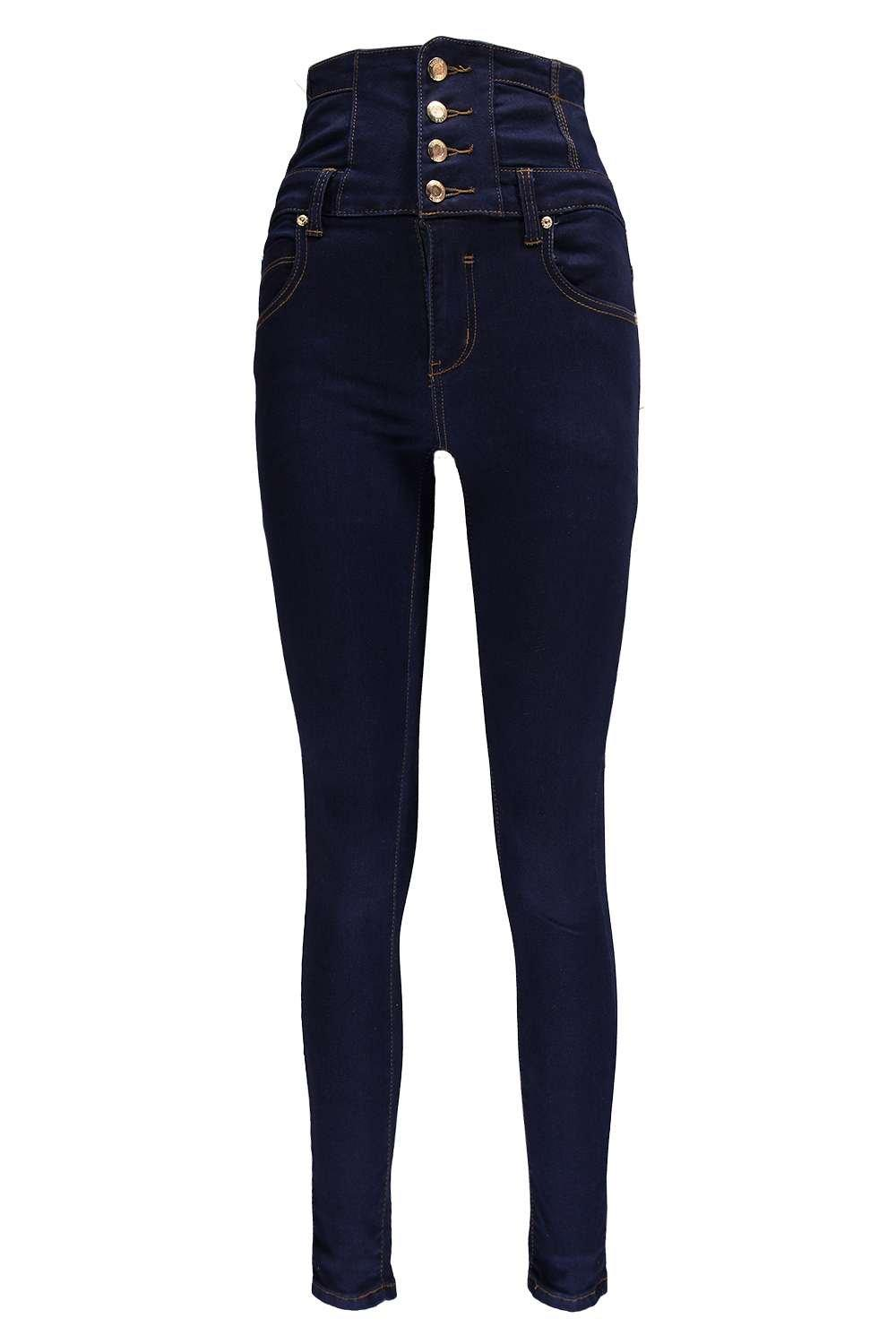 Sandy Super High Waisted Skinny Indigo Jeans | Boohoo