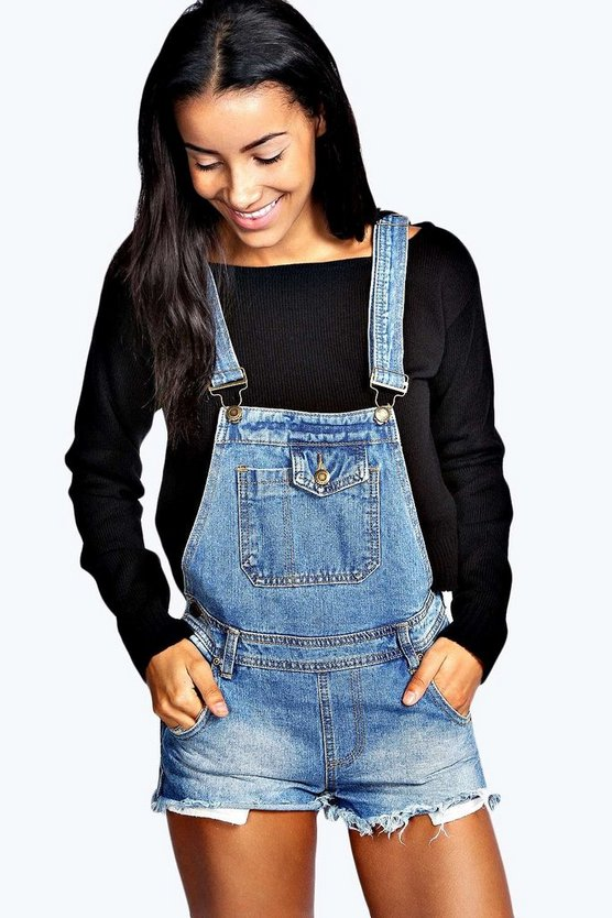 Lacie Mid Stone Wash Denim Dungaree Playsuit