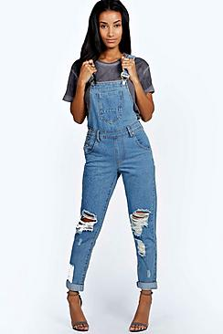 boohoo amy indigo stone wash denim dungaree