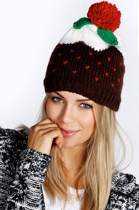 Holly Christmas Pudding Beanie Hat