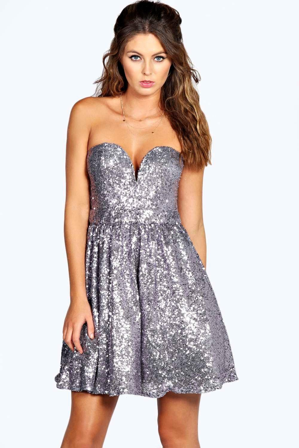 Nadia Sequin Plunge Skater Dress