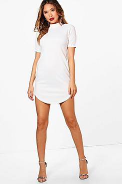 Kareena Ribbed Curved Hem Bodycon Dress