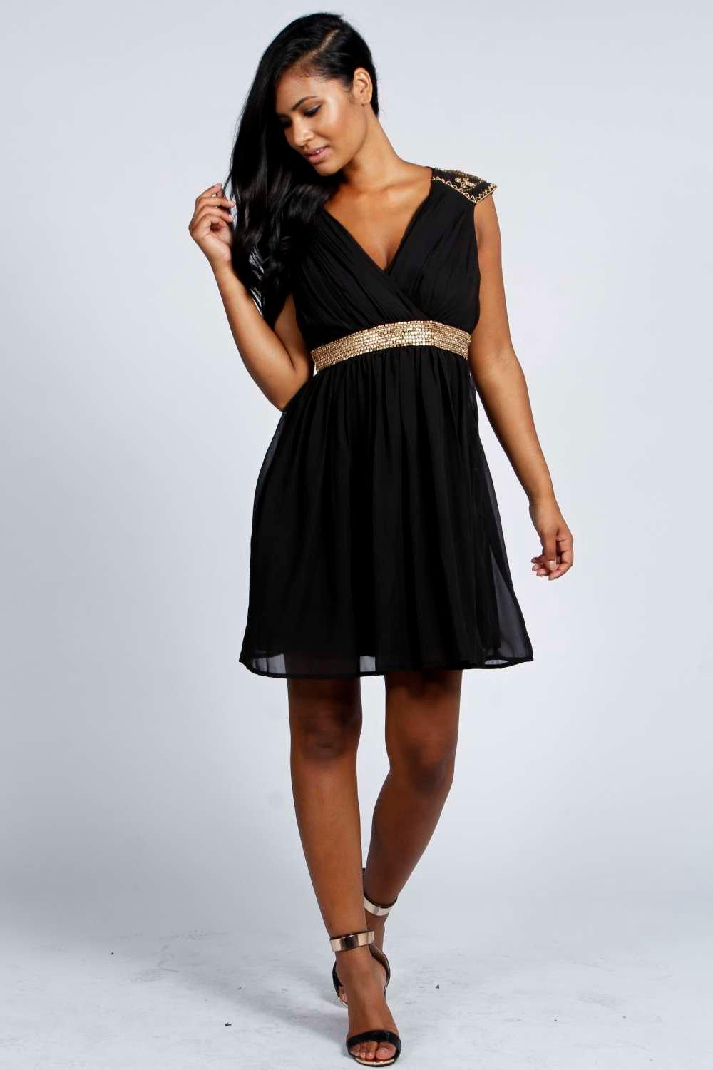 Tia Embellished Shoulder and Waist Chiffon Dress