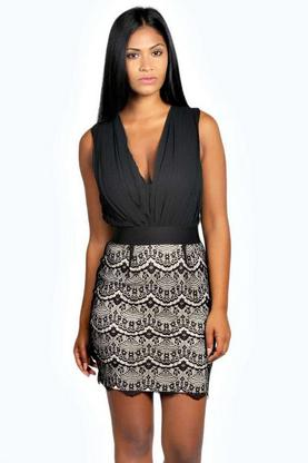 Rosie 2 in 1 Plunge Lace Bodycon Dress