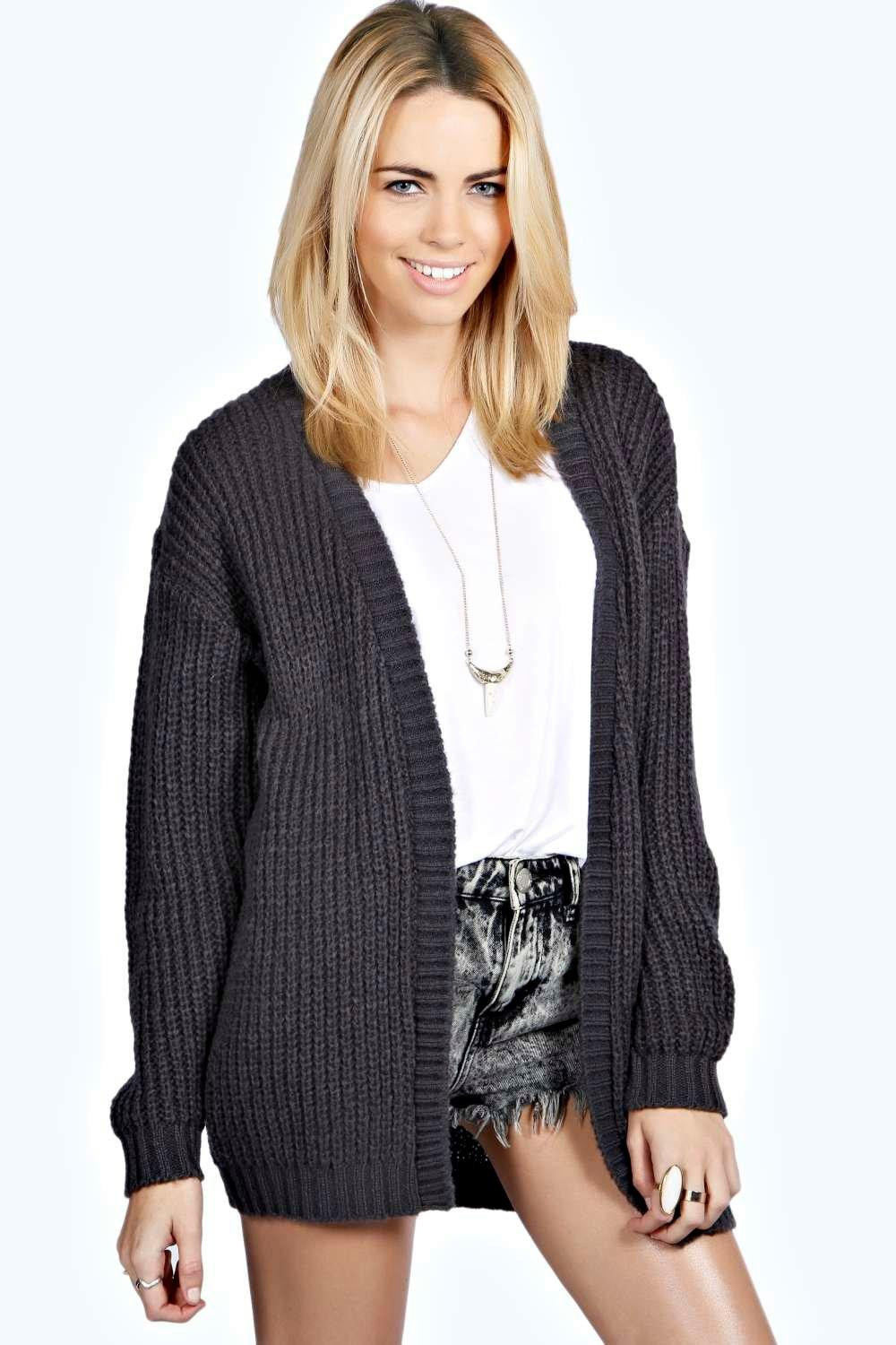 Edge To Edge Grungy Cardigan charcoal
