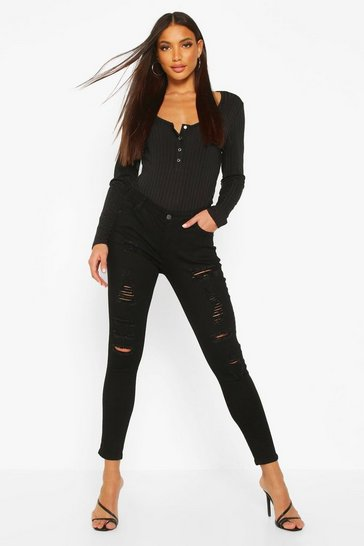 Black Low Rise Heavy Ripped Skinny Jeans