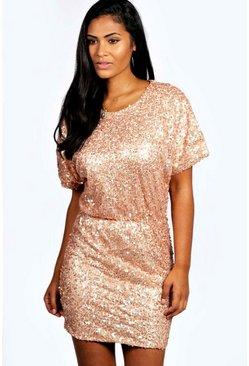 Mandy Sequin Batwing Bodycon Dress