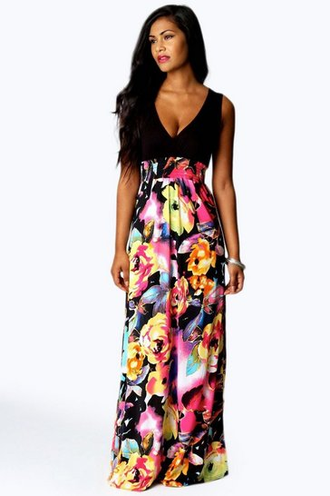 Black Petite Kiera Rose Print Maxi Dress