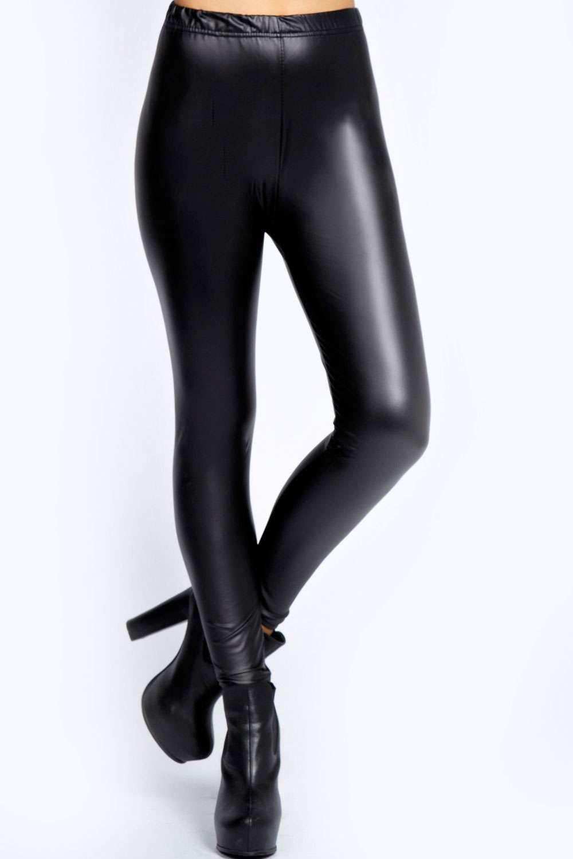 Matte Black Leather Look Leggings black