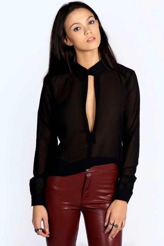 Rosella Collared Deep Plunge Long Sleeve Blouse