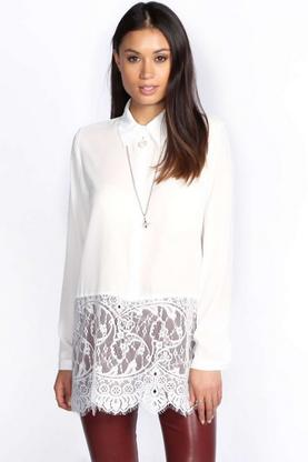 Tessa Eyelash Lace Trim Long Sleeve Shirt