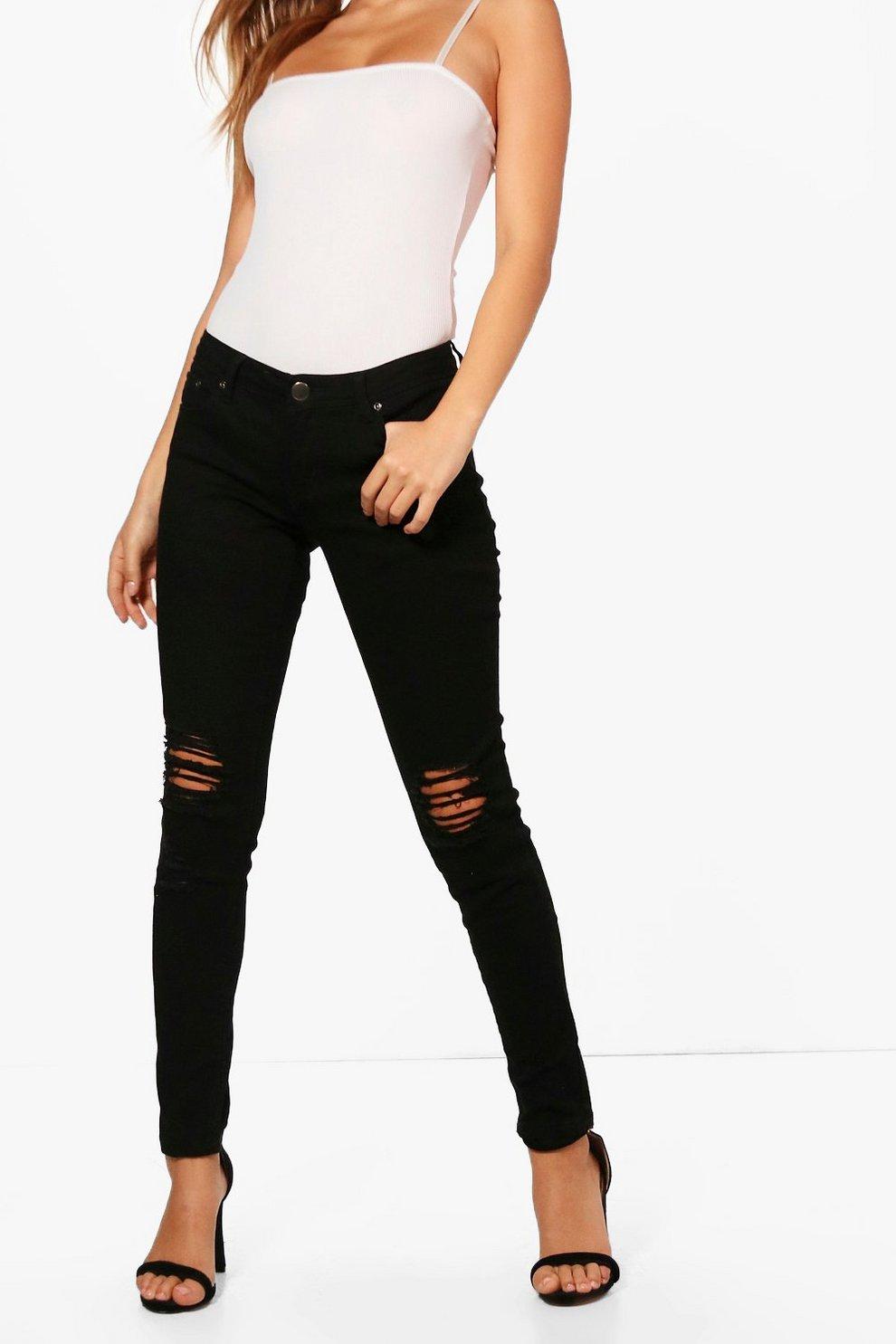 Laura Ripped Knee Black Skinny Jeans | Boohoo