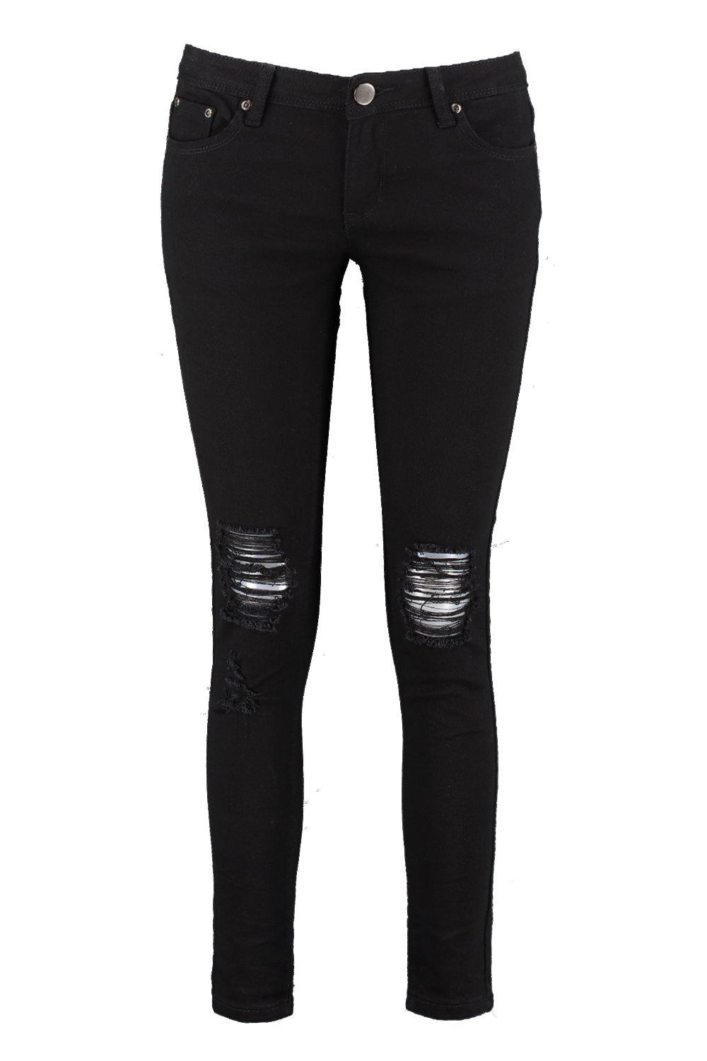 Laura Ripped Knee Black Skinny Jeans | Boohoo