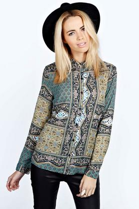 Rae Tile Print Long Sleeve Blouse