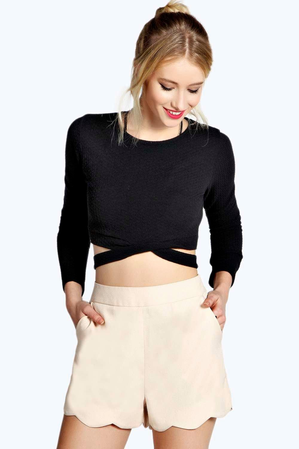 Libby High Waisted Scallop Edge Shorts