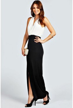 Carly Chiffon and Jersey Deep V Maxi Dress