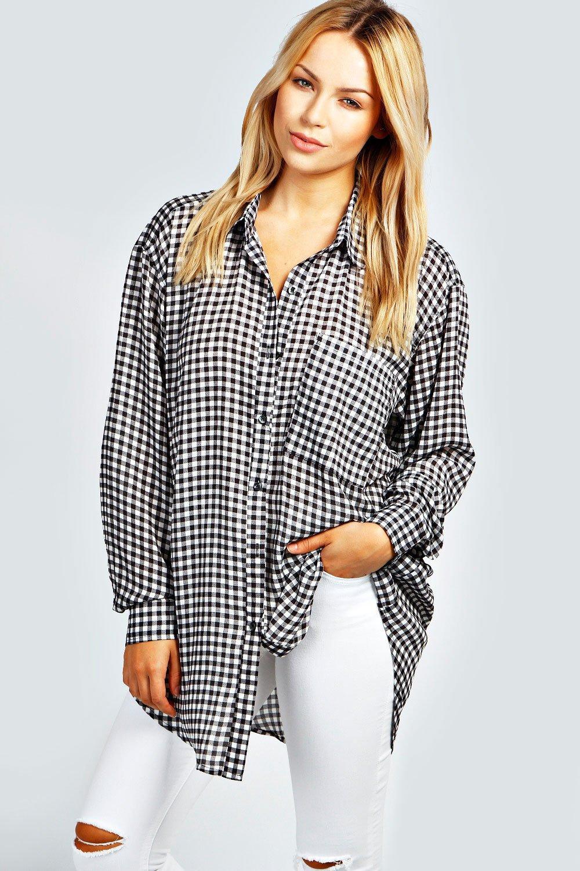 Kalie Gingham Oversized Shirt | Boohoo