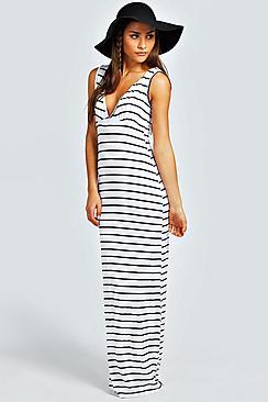 Harriet Plunge Striped Jersey Maxi Dress
