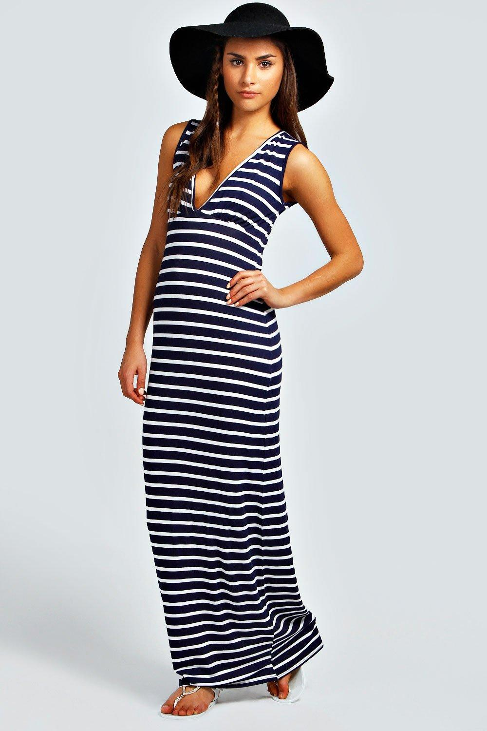 Harriet Plunge Striped Jersey Maxi Dress at boohoo.com