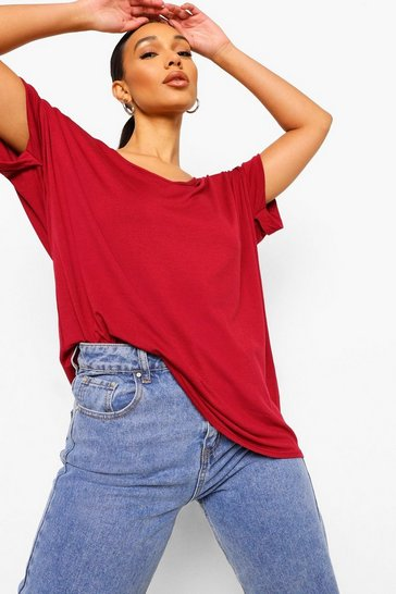 Berry Oversized Boyfriend V Neck T-Shirt
