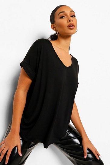 Black Oversized Boyfriend V Neck T-Shirt