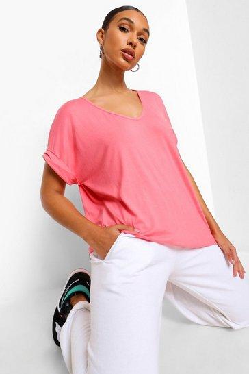 Coral Oversized Boyfriend V Neck T-Shirt