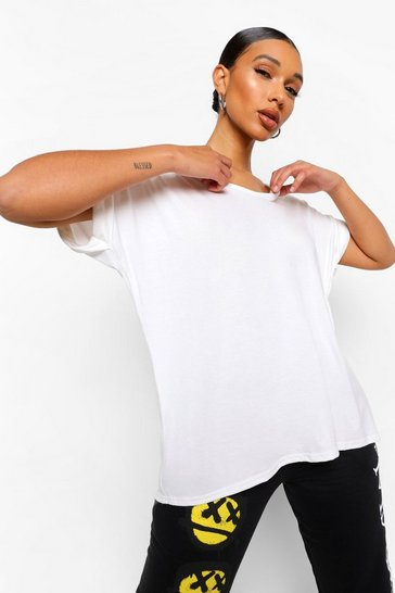 Cream Oversized Boyfriend V Neck T-Shirt