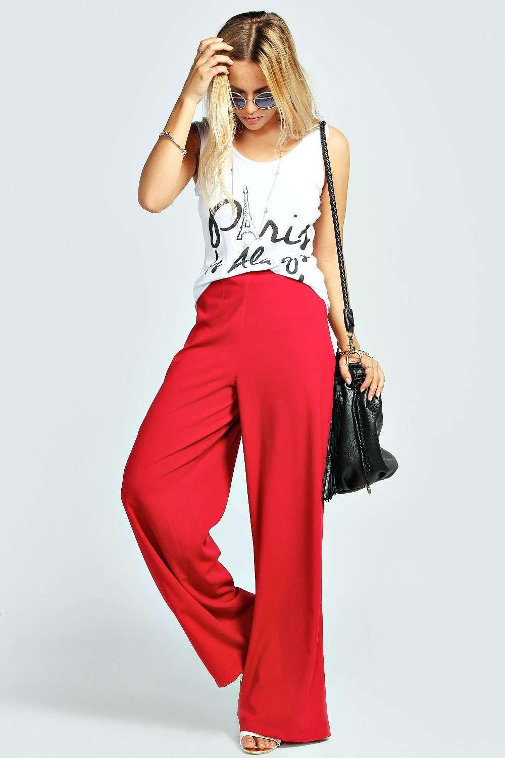 Amie Plain Crepe Palazzo Trousers