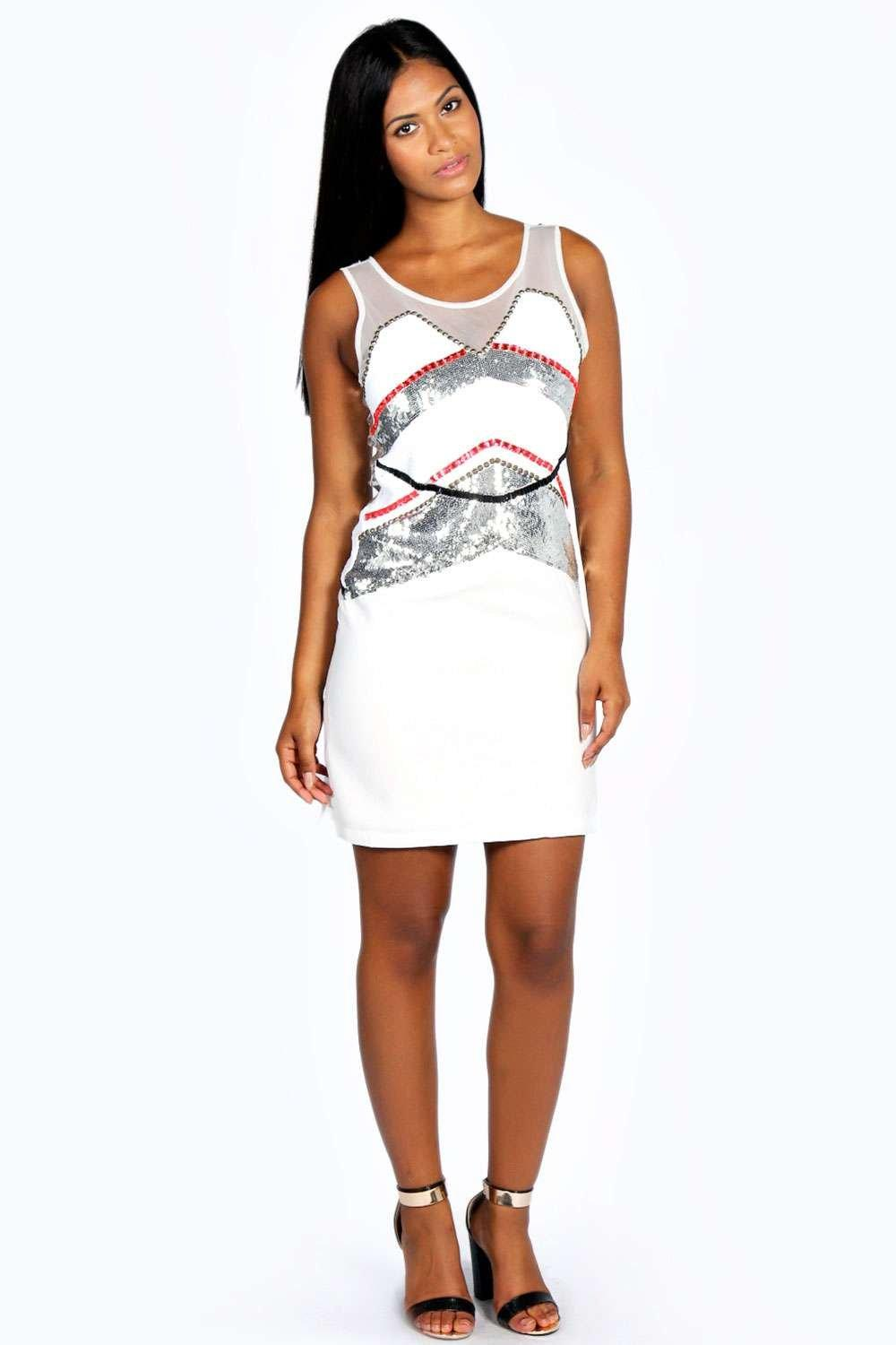 Holly Heavily Embellished Panel Shift Dress