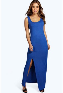 Petite Cameron Scoop Neck Front Split Maxi Dress
